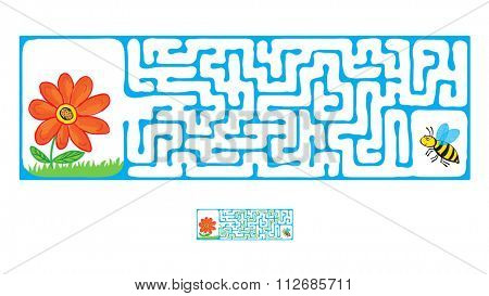 Maze, Labyrinth education Game for Children with Flying Bee and flower.