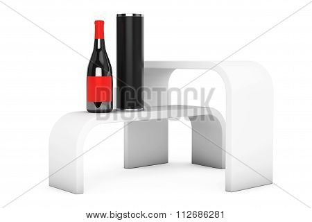 Promotion Stand Shelves With Wine Bottle