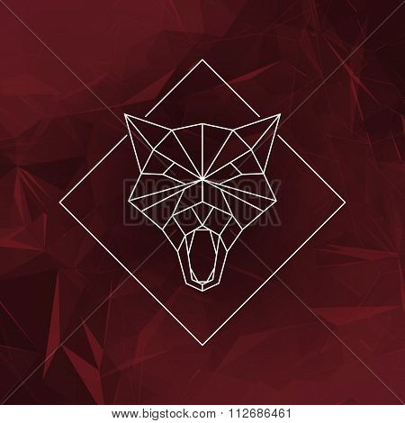The wolf head sign (Icon) - Vector illustration.