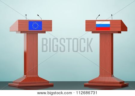 Wooden Podium Tribune Rostrum Stands With European Union And Russian Flags