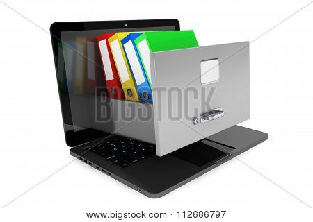 Data Storage Concept. Achive Office Binders In Cabinet Inside Laptop