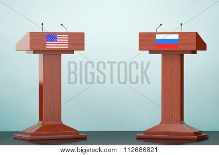 Wooden Podium Tribune Rostrum Stands With Usa And Russian Flags