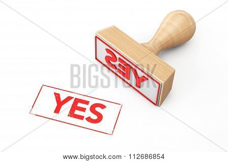 Wooden Rubber Stamp With Yes Sign