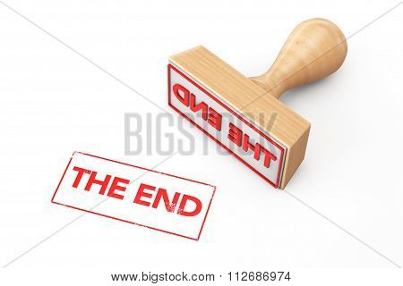 Wooden Rubber Stamp With The End Sign