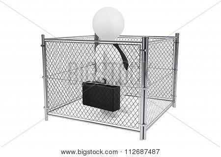 3D Businessman Person Inside A Wired Fence