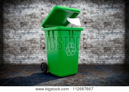 Green Garbage Trash Bin