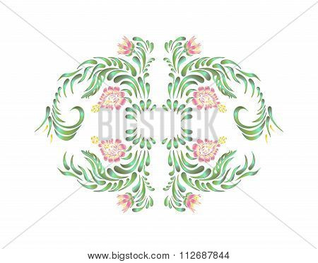 . Beautiful vector border with flowers in vintage style.