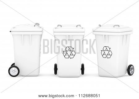 White Garbage Trash Bins