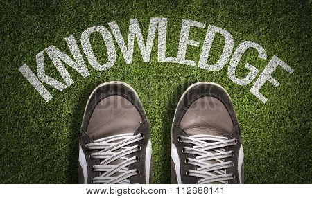 Top View of Sneakers on the grass with the text: Knowledge
