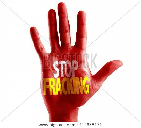 Stop Fracking written on hand isolated on white background