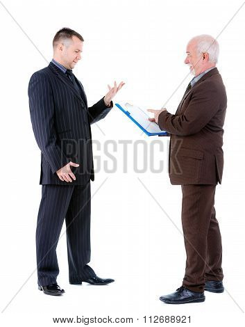 Two Businessmans In Suits Argue And Swear. Isolated On White Background.