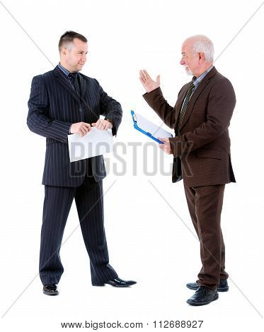 Young And Old Senior Two Business mans In Suits Argue And Swear.