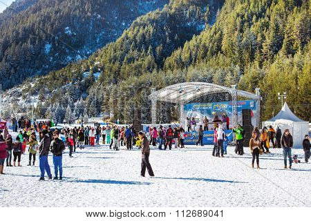 Ski resort Bansko, Bulgaria, people, mountains view, oen season