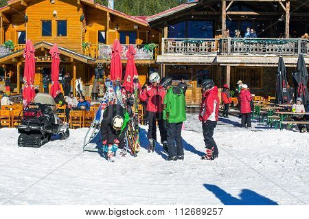 Skiers at ski resort Bansko, Bulgaria