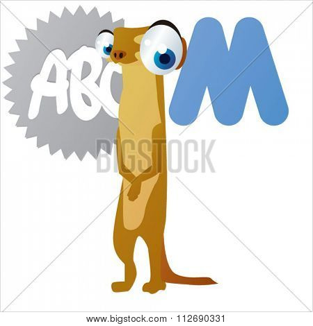 vector cartoon comic animals ABC for kids: M is for Meerkat / Illustration for apps, books, stickers, badges or games