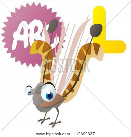 vector cartoon comic animals ABC for kids: L is for Lyrebird / Illustration for apps, books, stickers, badges or games