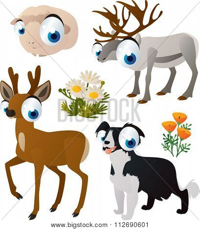 vector collection of comic cartoon styled animals for children. Set of Guinea pig, reindeer, roe deer, collie dog.