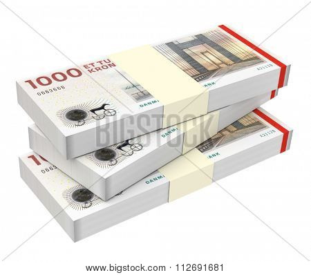 Danish krone isolated on white background Computer generated 3D photo rendering
