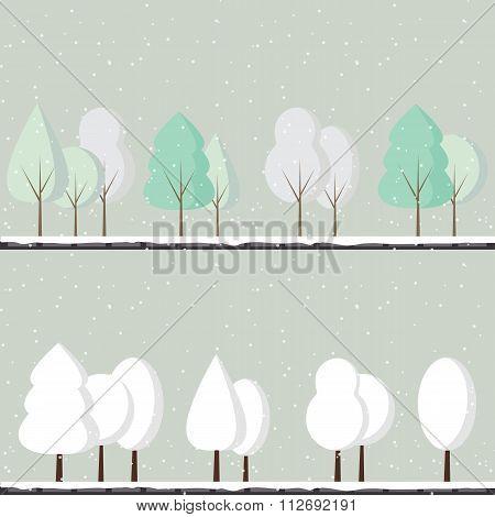 Cartoon Winter Trees
