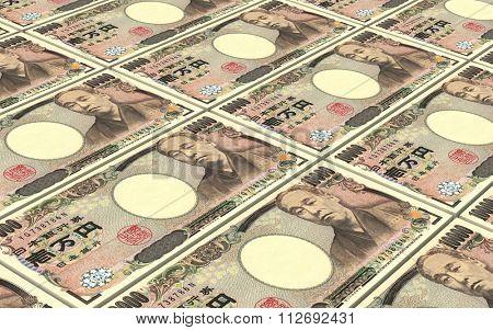 Japanese yen bills stacks background. Computer generated 3D photo rendering.