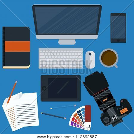 Vector illustration of a workplace designer