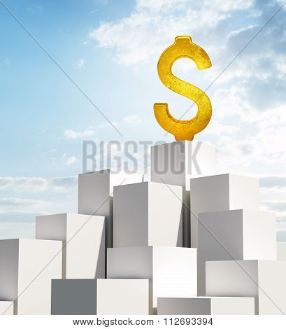 Stack of white boxes with dollar sign