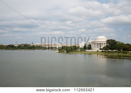 USA, WASHINGTON - AUG 30, 2014: The Thomas Jefferson Memorial at the summer day.