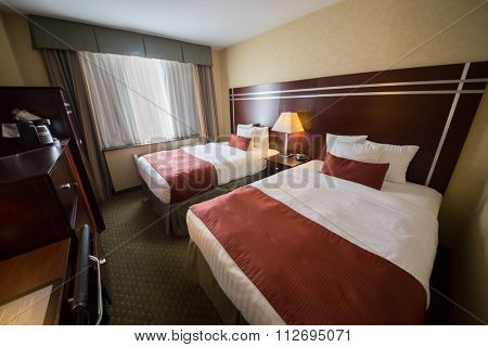 USA, NEW YORK - 04 SEP, 2014: Double family room with double bed at Best Western PLUS Prospect Park Hotel in Brooklyn.