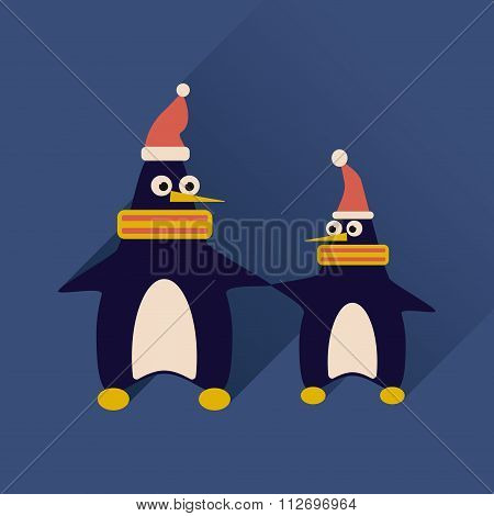 Flat web icon with long shadow pair penguins