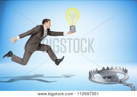 Businessman running forward