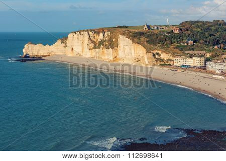 Etretat commune from viewpoint, France