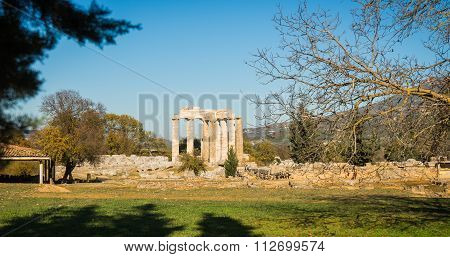 Ruins Of An Ancient Greek Temple In Nemea On Peloponnese