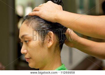 Woman Hair Treatment At Salon