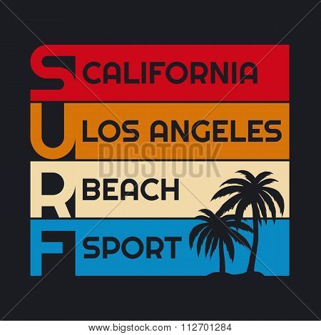 surf typography, t-shirt graphics.
