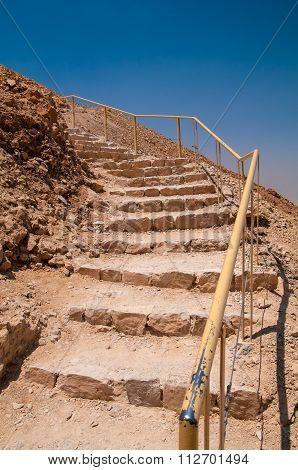 Stairs leading up the snake path at Masada