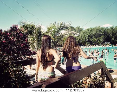 Girls in the waterpark