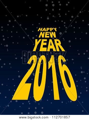 Happy New Year Amid The Black Sky. Dark Space And Stars. Text In Perspective Fly To Infinity.