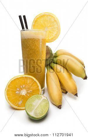 Refreshing lime and banana  juice with orange