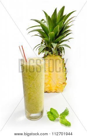 Refreshing pineapple juice isolated on white