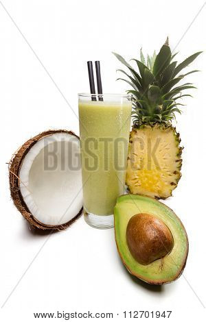 Refreshing coconut, pineapple, avocado juice with milk