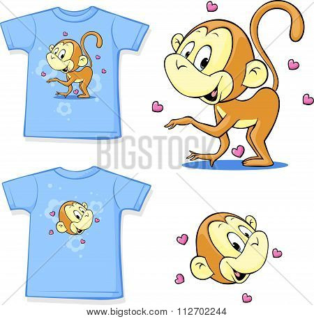 Shirt With A Picture Of Merry Monkeys - Vector Illustration
