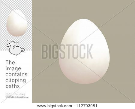 The illustration of an egg in the eggshell.  A part of Dodo collection - a set of educational cards for children. The image has clipping paths and you can cut the image from the background.
