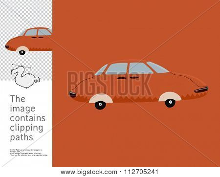 The illustration of the red toy car.  A part of Dodo collection - a set of educational cards for children. The image has clipping paths and you can cut the image from the background.