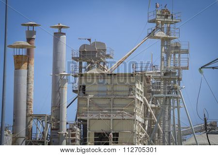 modern industry and refinery, details of pipes and smokestacks