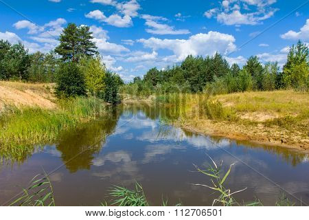 Summer landscape with small lake in forest