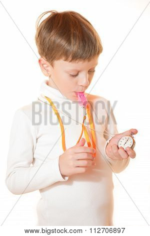 The Boy The Trainer With A Stopwatch And A Whistle