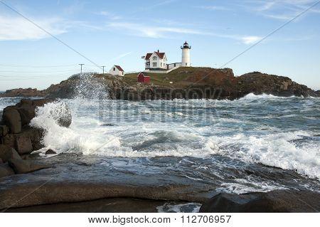 High Tide Around Maine Island Lighthouse