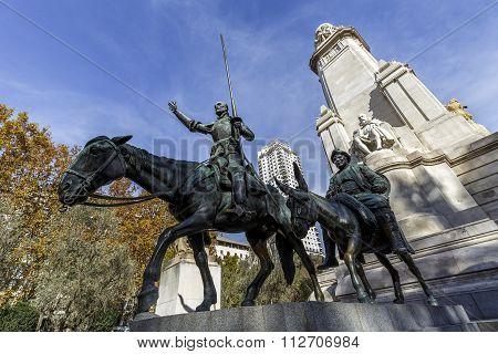 Statues of Don Quixote and Sancho Panza at the Plaza de Espana in Madrid Spain