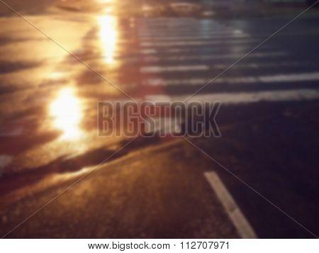 Vector background. Blurred Lights crosswalk