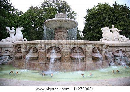 The Wittelsbacher Fountain At The Lenbachplatz In Munich, Germany